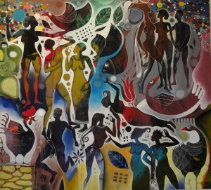 Ismail Damba's painting is one of the paintings by Ugandan fine artists on exhibition at N