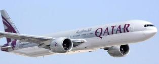 Qatar Airways jet in flight