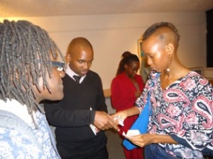 Ngendo Mukii interacts with movie lovers after the screening and discussion f YELLOW FEVER at Lola Kenya Screen film forum in Nairobi, Kenya.