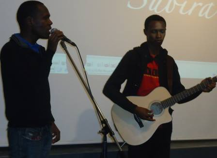 Vocalist Kibali Moreithi sings during 76th monthly Lola Kenya Screen film forum in Nairobi