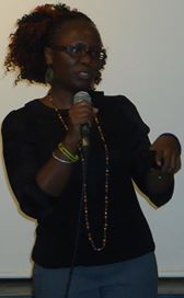 Actress Maureen King'ori speaks at the screening of Blindsight at Nairobi's monthly Lola Kenya Screen film forum