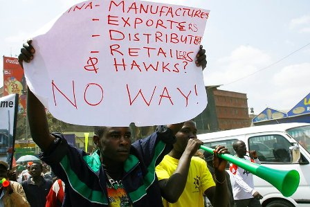 Traders demonstrate against chinese hawkers in nairobi