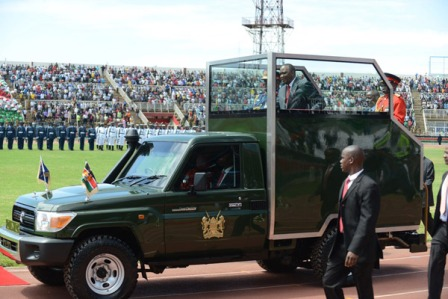 President Uhuru Kenyatta's armored vehicle during the 2014 Madaraka Day celebrations at Nyayo Stadium