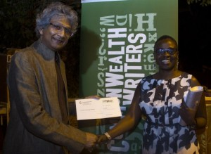 Romesh Gunesekera, Chair of the 2015 commonwealth writers judging panel, with last year's winner, Jennifer Nansubuga Makumbi