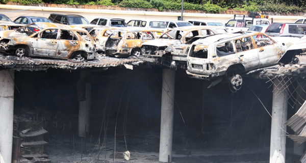 collapsed parking floors of Nairobi's Westgate shopping Mall 2013