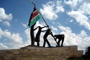 kenyan flag replaces british flag at independence in 1963, uhuru gardens, nairobi