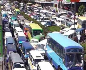 traffic jam in kenyan capital, nairobi