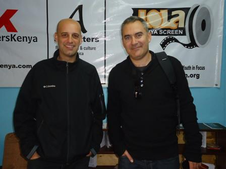 Spanish film director David Munoz, right, and Carlos visit Lola Kenya Screen