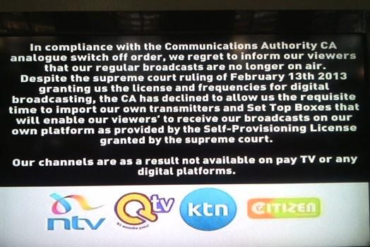 ktn, citizen tv, ntv, qtv's onscreen announcement