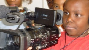 Children go through camerawork during a moviemaking training at Lola Kenya Screen in Nairobi, Kenya.