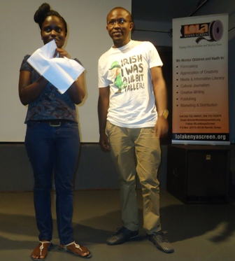 director bruce makau with daisy okoti at lola kenya screen film forum