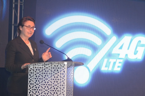 Cecile Tiano , Ag Tigo Tanzania General Manager, making her key-note speech during the launch of the 4GLTE in Mlimani City, Dar es Salaam