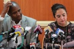 Kenyan MPs Alfred Keter and Sonia Birdi address the media after Director of Public Prosecutions Keriako Tobiko ordered they be charged in court