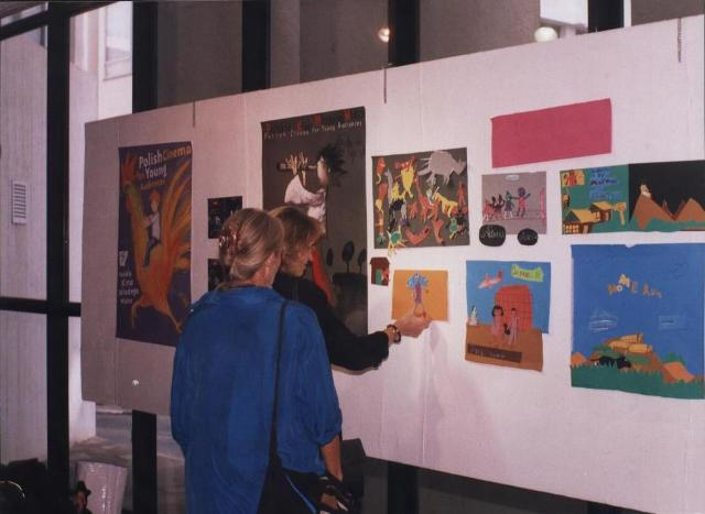 Antonia Ringbom and Barbara Reich of Goethe-Institut admire children's story boards in 2007