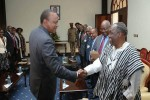 Uhuru Kenyata, President of Kenya, receives writer Ngugi wa Thiong'o and publisher Henry Chakava at State House