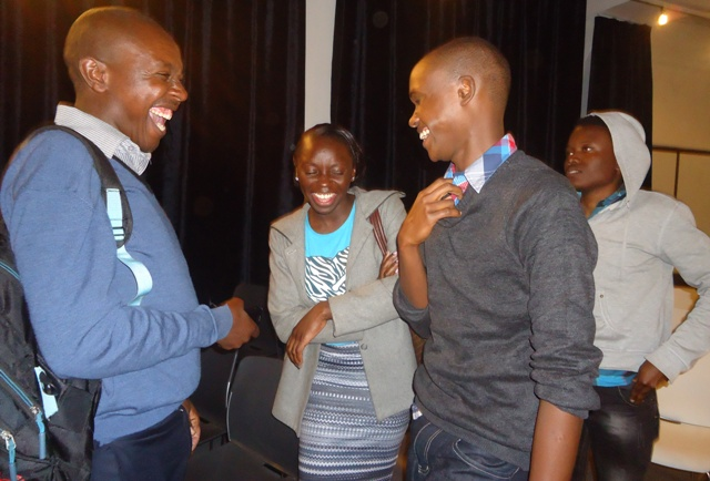 Actor Ashford Kirimi interacts with other practitioners at 88th LKSff