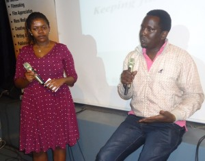 Film Director Brian Munene with Discussion Moderator Bridget Mutua during the 88th monthly Lola Kenya Screen film forum