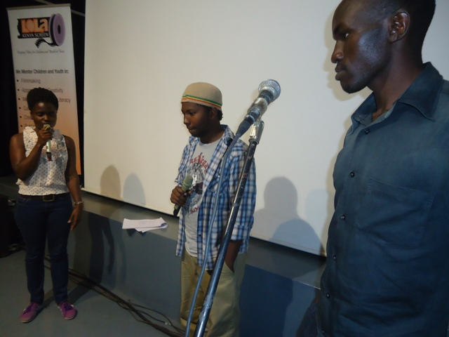 Daisy Okoti, discussion moderator; Firul Maithya, 15th member director; Joseph Simiyu, 15th member producer