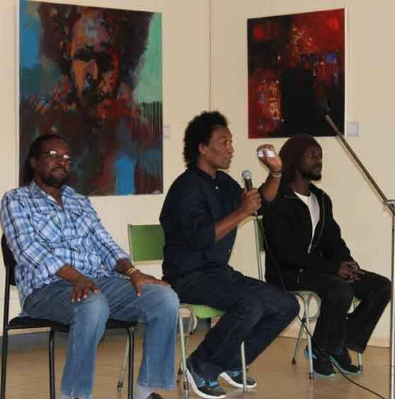 Yassir Ali, Fawaz Elsaid and Magdi Adam are showcasing colourful and vibrant paintings on Sudanese life, history and identity