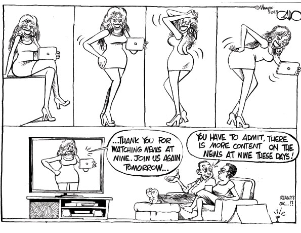 Godfrey Mwampembwa's cartoon on exhibitionist TV news presenters