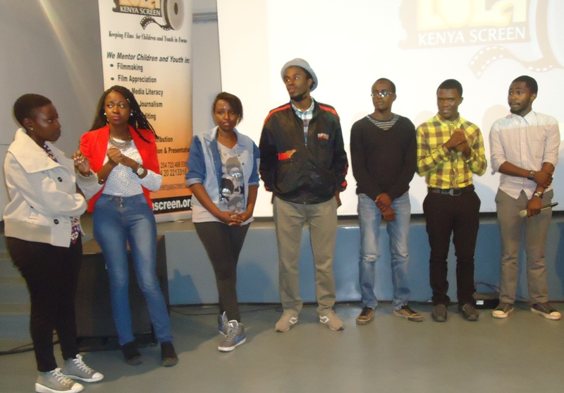 A section of the crew and cast from Kenyatta University's Theatre Arts & Film Technology students who made the film, OUTSET, at Lola Kenya Screen film forum in Nairobi