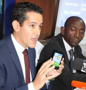 Diego Gutierrez, the General Manager of the mobile service provider, Tigo, launches the first ever smartphone with Kiswahili menu on the Tanzanian market