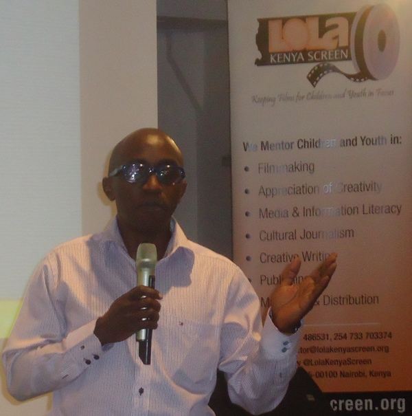 George Kimani, Specialist in Movie Content Distribution, speaks at 90th Lola Kenya Screen film forum, Nairobi, Kenya