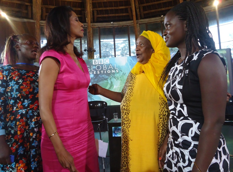 BBC Global Questions Zainab Badawi interacting with admirers after the show in Nairobi