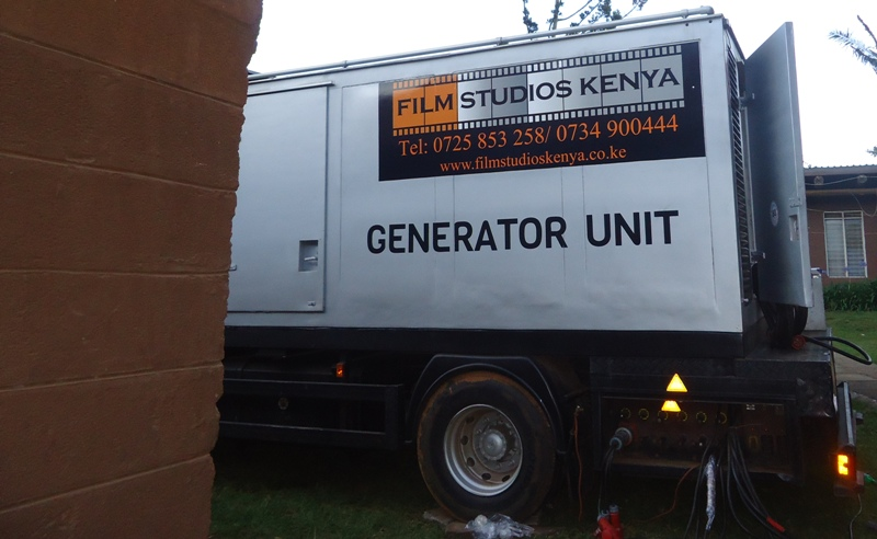 Stand by generator unit to ensure uninterrupted recording of BBC Global Questions programme in Kenya