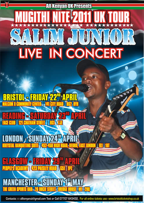 Salim Junior's UK concert tour 2011 publicity poster