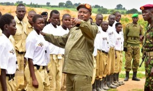 President Museveni with Crime Preventers; Police deployed crime preventers for Christmas fete