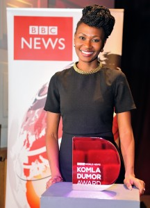 Winner of 1st BBC World News Komla Dumor Award,Uganda's Nancy Kacungira, works for Kenya's KTN