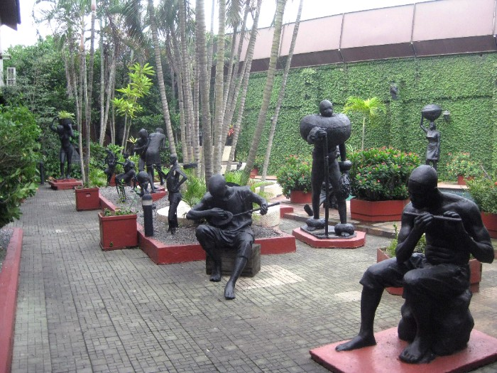 Omoobia Yemisi Adedoyin Shyllon's backyard in his private museum in Lagos