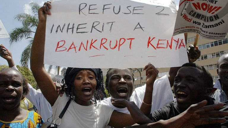 Activists demonstrate against corruption in Nairobi. AFP Photo by Simon Maina