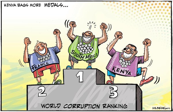 Editorial cartoonist's impression of Corruption in Kenya
