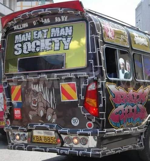 matatu with al-qaeda's osama bin laden leader pictures all over it