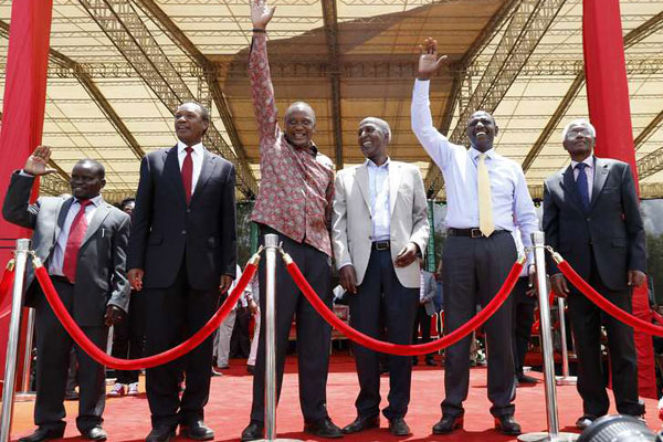 Celebration as charges against The Ocampo Six', from right, Joshua Sang, Henry Kosgey, Uhuru Kenyatta, Ali Hussein, William Ruto and Francis Muthaura upon arrival at Afraha Stadium in Nakuru on April 16, 2016. A Nation Media Group pic