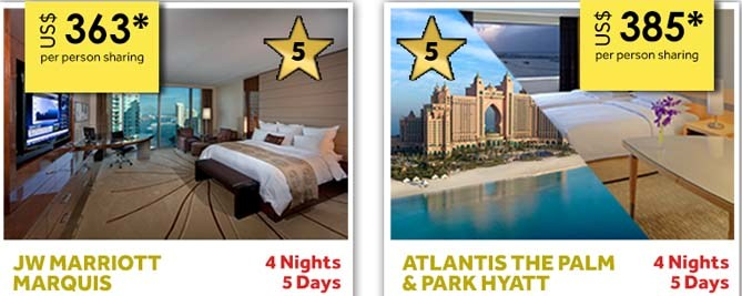 Share a 5-star hotel room in Dubai for US$363 or US$385