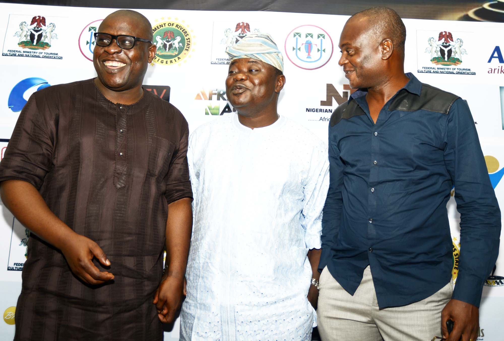 Shaibu Husseini, President Africa Movies Academy Awards 2016 Board ofJury, Biodun Kupoluyi, Publisher of E247 Magazine, and Tony Anih, Director of Administration, AMAA at on May 15, 2016 at a media event which took place at Protea Hotel in Ikeja, Lagos, Nigeria