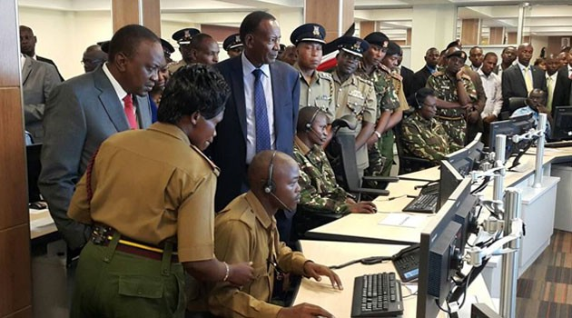 President Uhuru Kenyatta tours the Integrated Public Safety Communication and Surveillance System centre in Nairobi