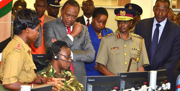 President Uhuru Kenyatta, Inspector-General of Police Joseph Boinnet, Internal Security Minister Joseph Nkaiseri and Interior ministry officials tour the National Surveillance, Communication and Command centre