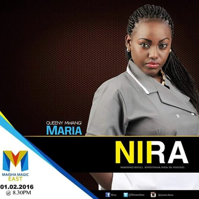 Queeny Mwangi play Maria, a domestic servant who falls in love with the first born son of the powerful family she works for in NIRA.