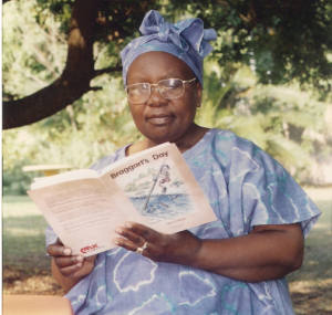 Reading the first edition of The Braggart's Day in Harare, Zimbabwe