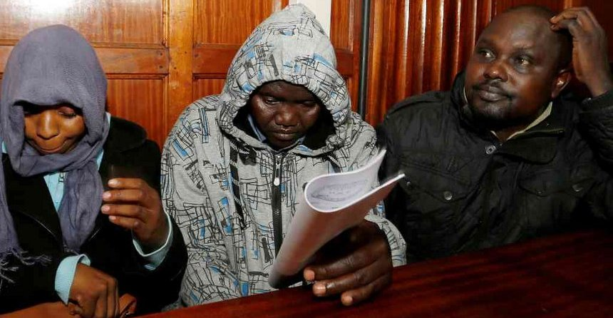 Silvia Wanjiku, Stephen Chebulet and Fredrick Leliman, the Administration Police officers suspected of extrajudicial killing of willie kimani in court. The Star pic