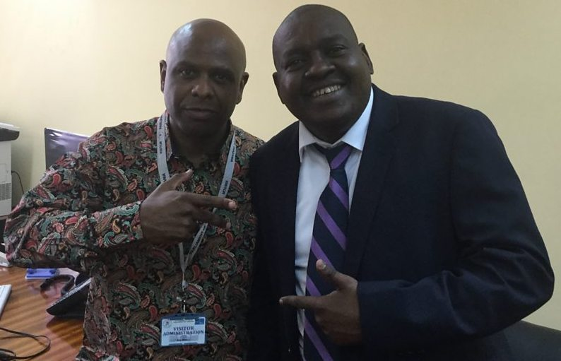 BBC Reporter Salim Kikeke with rapper-cum-politician Professor Jay in the Tanzanian political capital, Dodoma.