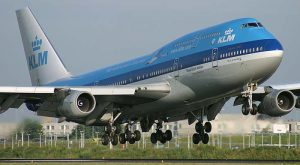 KLM passenger plane to North America and Europe.