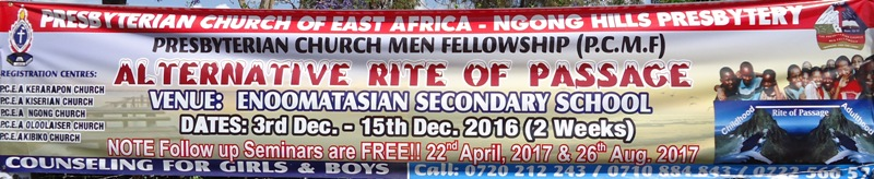 Presbyterian Church of East Africa runs 'Alternative Rite of Passage' every November and December.
