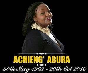 Lydia Abura died in Nairobi on October 20, 2016.