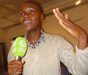Peter Nuyah, a young moviemaker, stresses his point during the 98th Lola Kenya Screen film forum at Goethe-Institut in Nairobi.