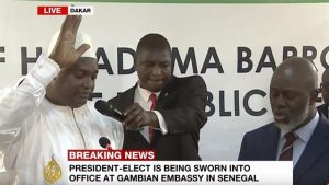 Yahya Jammeh clung to power after being defeated in the poll and the victor had to be sworn into iffice not in Banjul but neighbouring Dakar